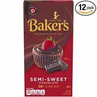 Baker's Semisweet Baking Chocolate Bar, 4 oz box (Pack of 12)