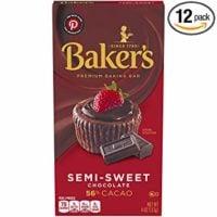Baker's Semisweet Baking Chocolate Bar, 4 oz box (Pack of 12)