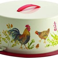 Paula Deen Pantryware Metal Cake and Pie Carrier, Garden Rooster - 46596, Print, Large