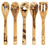 Organic Bamboo Spoons Cooking & Serving Utensils Burned Wooden Spoon Carved