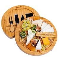 Bamboo Cheese Board Set With Slide Out Drawer