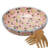 Large Stoneware Salad Serving Bowl, 78oz/11inch Embossed Multicolor Mexican Floral Design, with 2 Bamboo Salad Hands