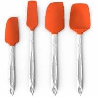 M KITCHEN WORLD Heat Resistant Silicone Spatulas Set of 4, Orange