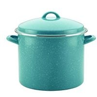 Paula Deen 46257 Enamel on Steel Stock Pot/Stockpot with Lid, 12 Quart, Gulf Blue Speckle