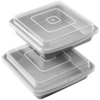 Wilton Recipe Right Non-Stick 9-Inch Square Brownie Baking Pan with Lid, Multipack of 2