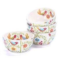 Bico Red Spring Bird 26oz Ceramic Cereal Bowls Set of 4, Microwave and Dishwasher Safe