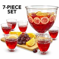 Glass Punch Bowl Set - 7 Piece Kit - Extra Large 2 Gallon Footed Bowl with Six 10.14oz Cups