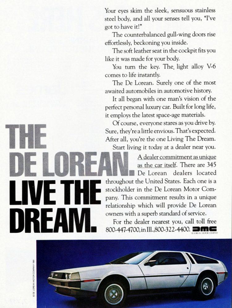 '82 Delorean - Live the dream - from 1981