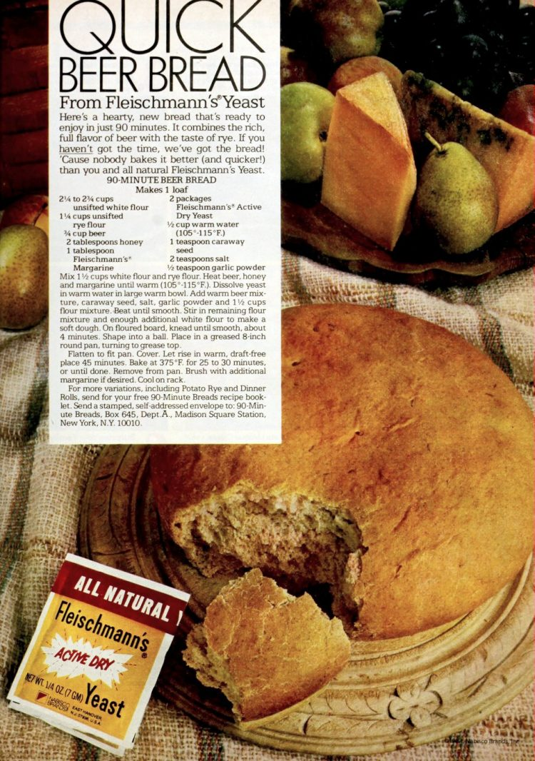 90-minute beer bread Vintage recipe from the 80s