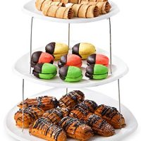 Twist Fold Party Tray, 3 Tier - The Decorative Plastic Appetizer Trays Twist Down and Fold Inside