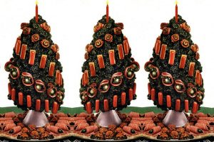 A Christmas tree with meat ornaments