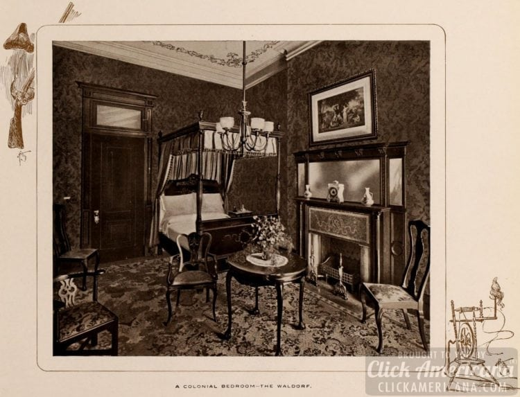 A Colonial bedroom at the Waldorf-Astoria Hotel - 1903