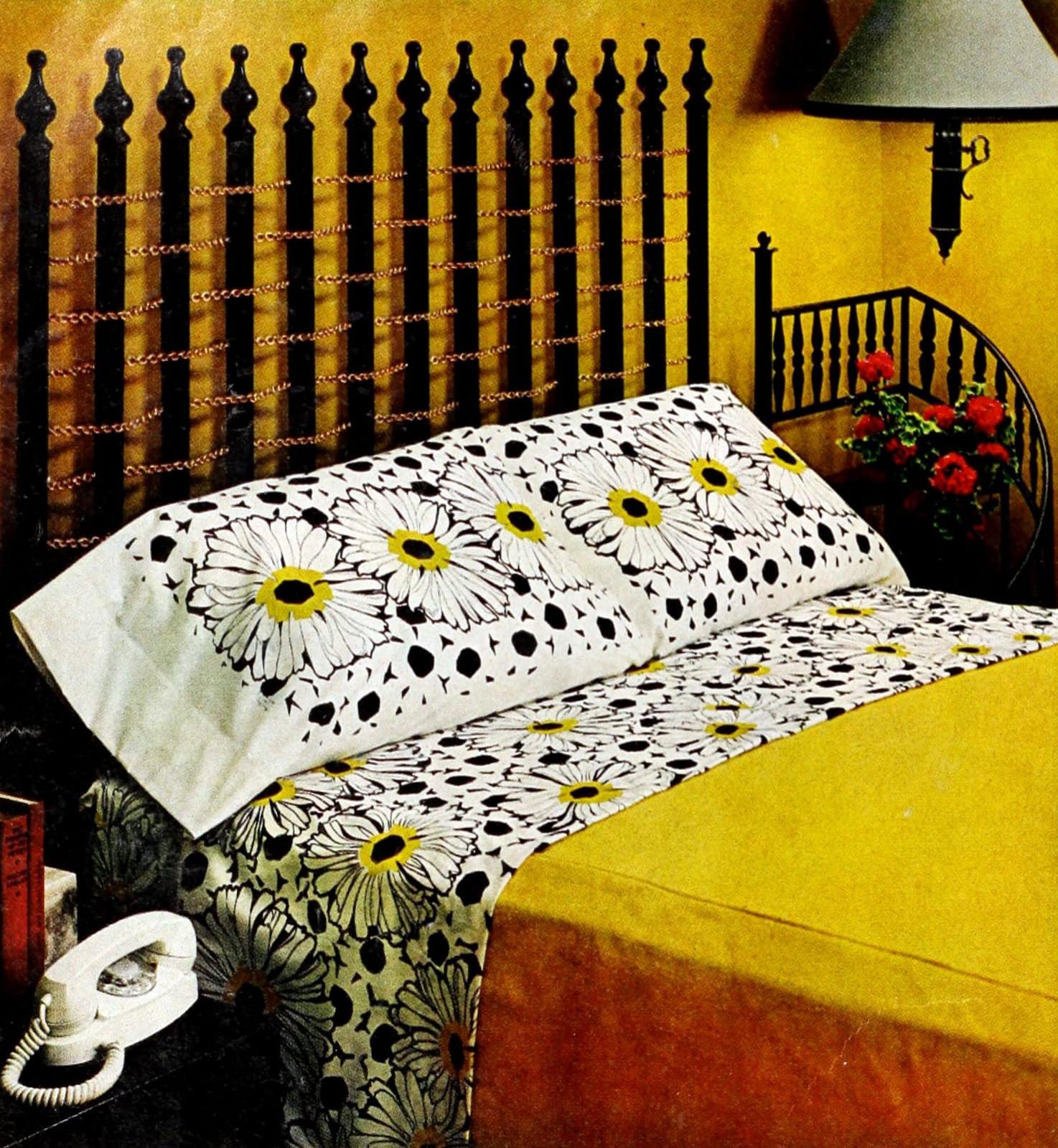 A DIY drapery rod headboard (1969)