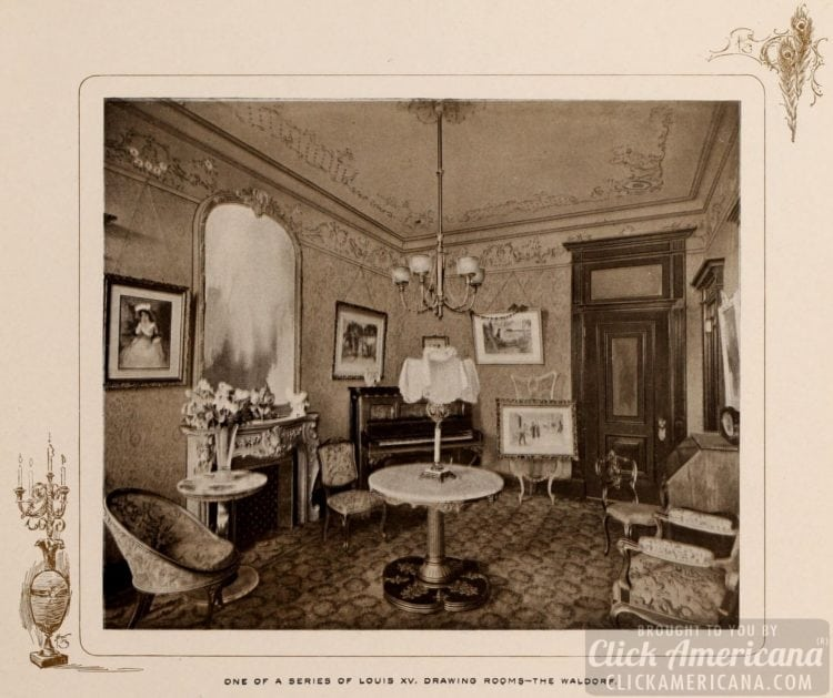A Louis XV drawing room at Waldorf Hotel - 1903