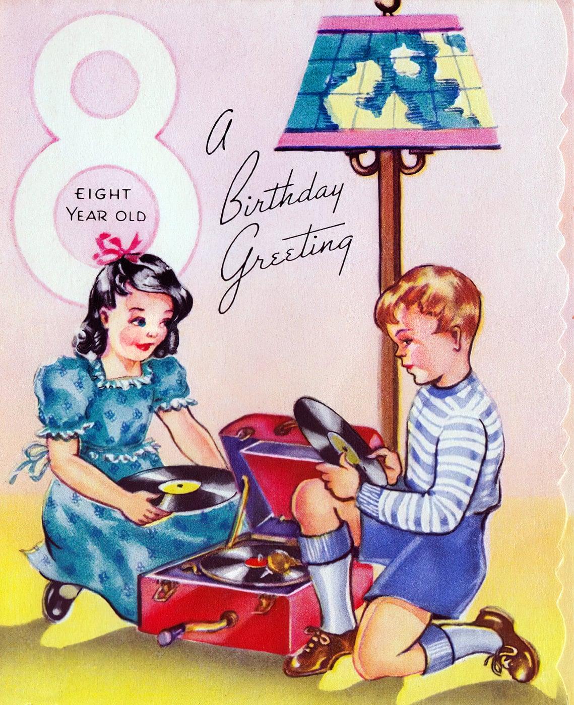 A birthday greeting - Vintage 1940s card