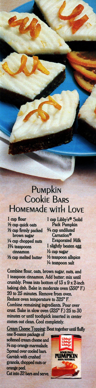 A classic Libby's pumpkin cookie bars recipe 1987