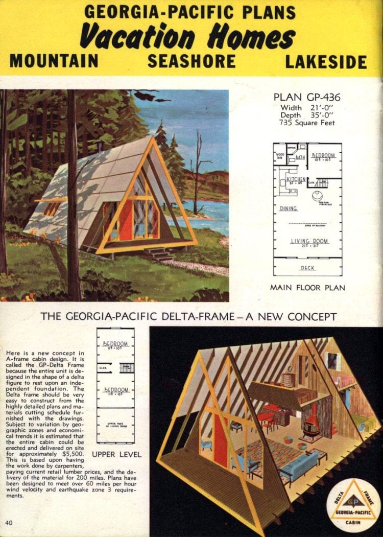 A-frame home designs - Georgia Pacific vacation house plans from 1962 (2)