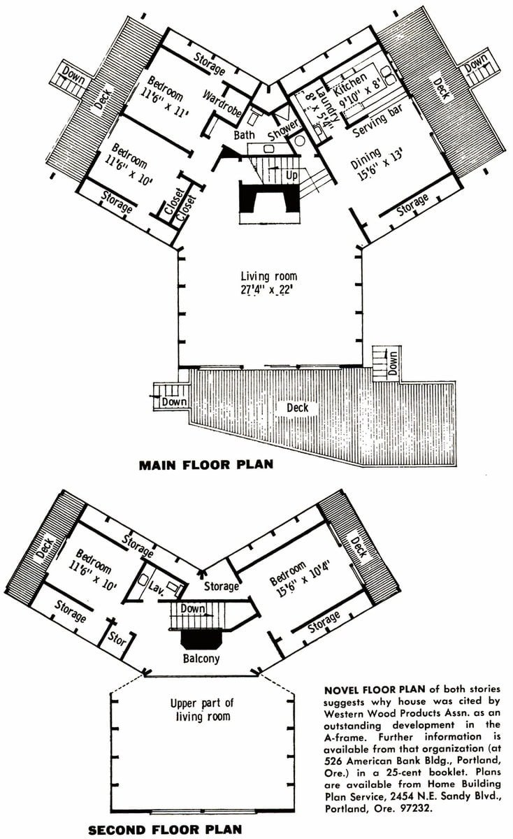 A-frame vacation cabin floorplans