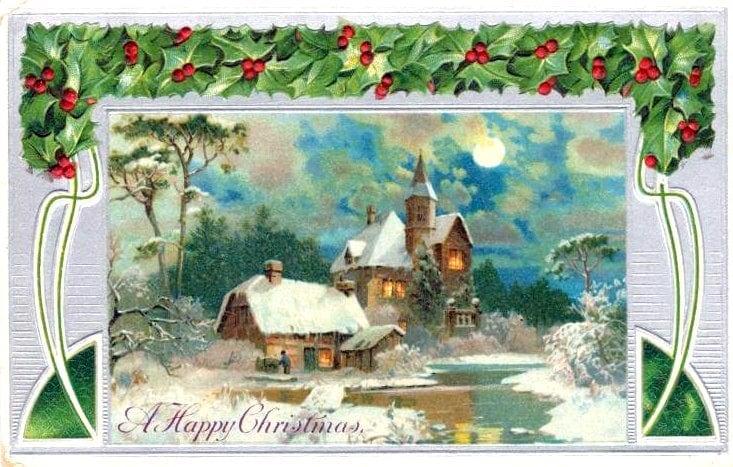A happy Christmas postcard c1910