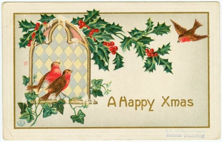 A happy Xmas vintage holiday card with robins from 1912