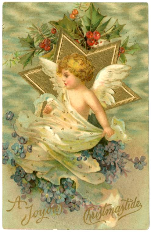 A joyous Christmastide antique card from 1908