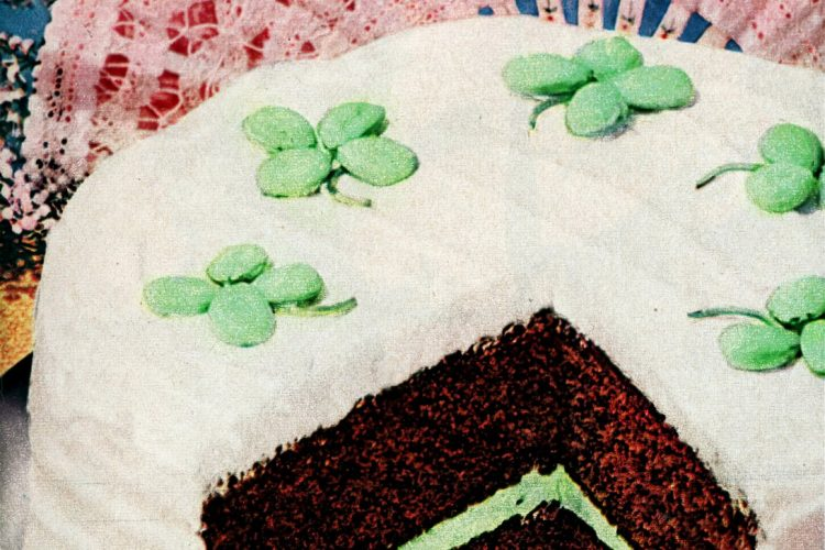 A lucky clover cake for St Patrick's Day (1950)