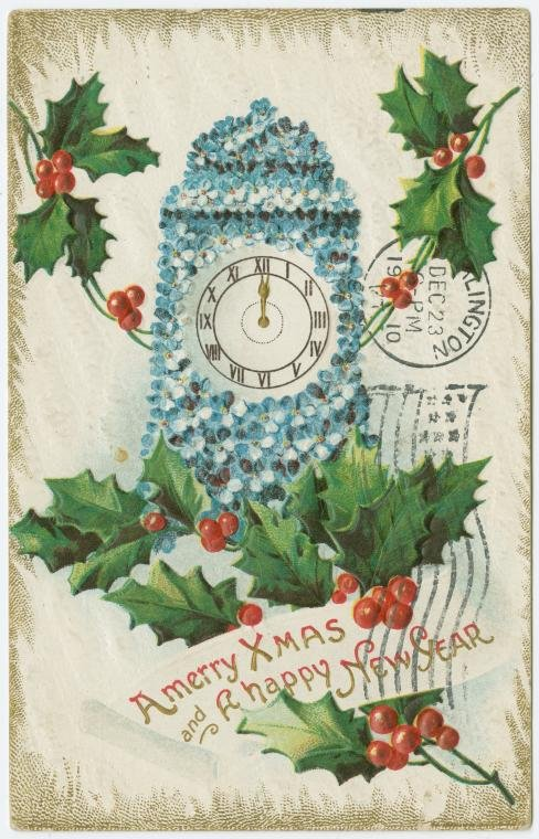 A merry Xmas and a happy New Year vintage Christmas card postmarked 1910