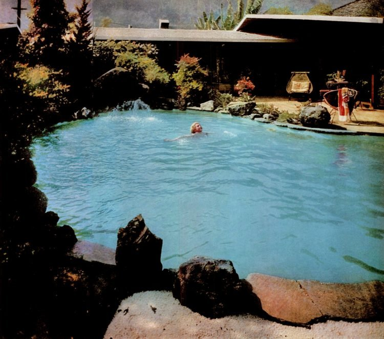 A mountain lake pool in Beverly Hills 1960