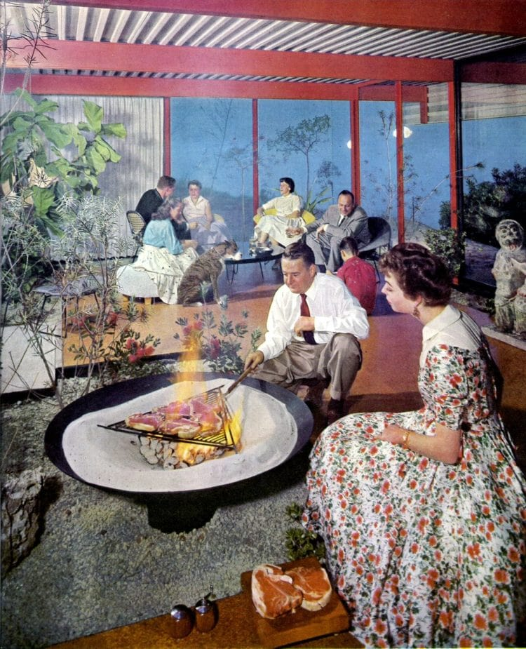 A party-style backyard from the 1960s with a covered porch and BBQ pit