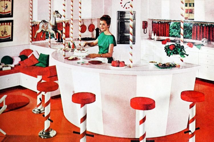 A playful candy-striped rounded kitchen from the 1960s
