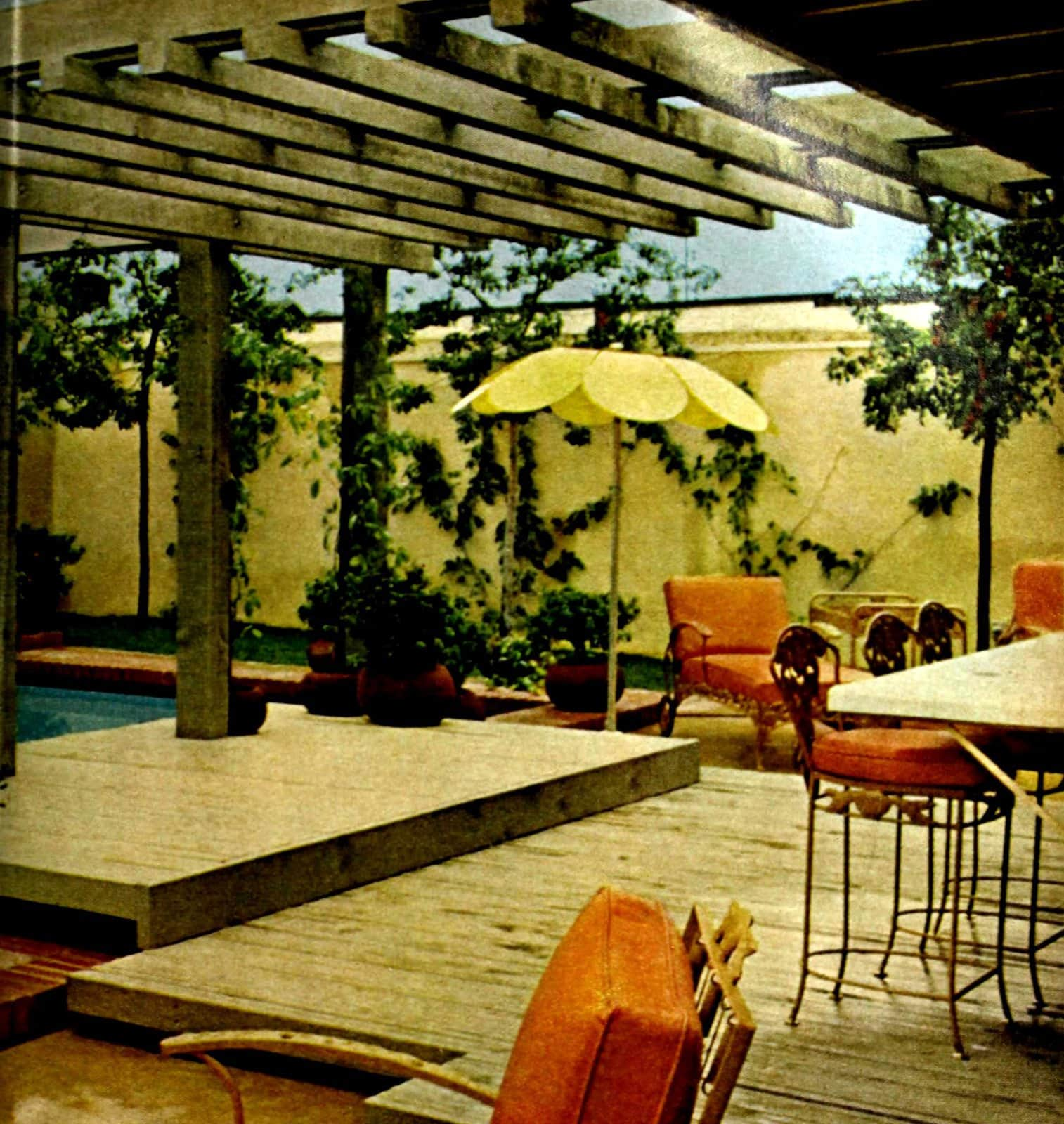 A pretty and private backyard pool area in a vintage style from 1969 (1)