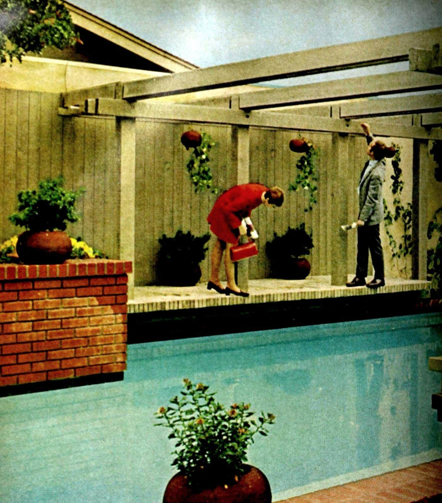 A pretty and private backyard pool area in a vintage style from 1969 (2)