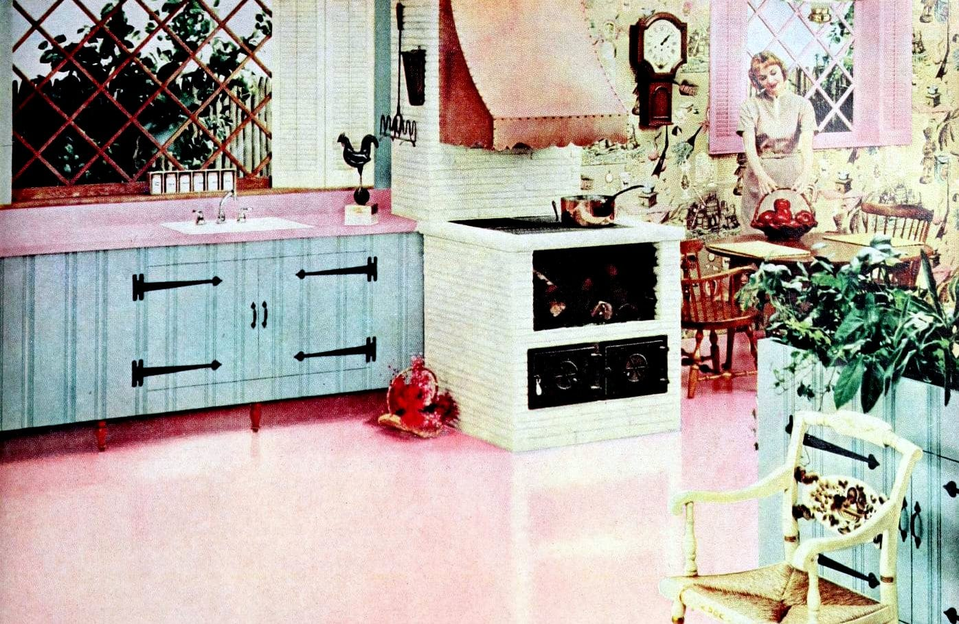 A retro pink and blue fifties kitchen