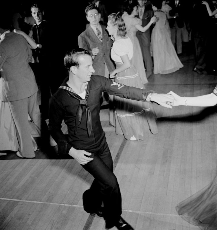 A sailor jitterbugging at the senior prom in Greenbelt, Maryland 1942