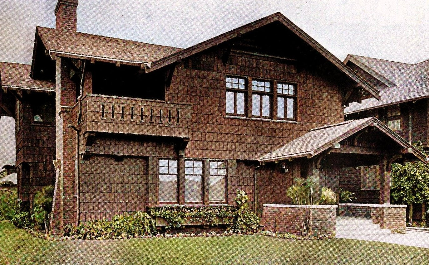 A shingle house with slight suggestion of Swiss architecture in design (1909)