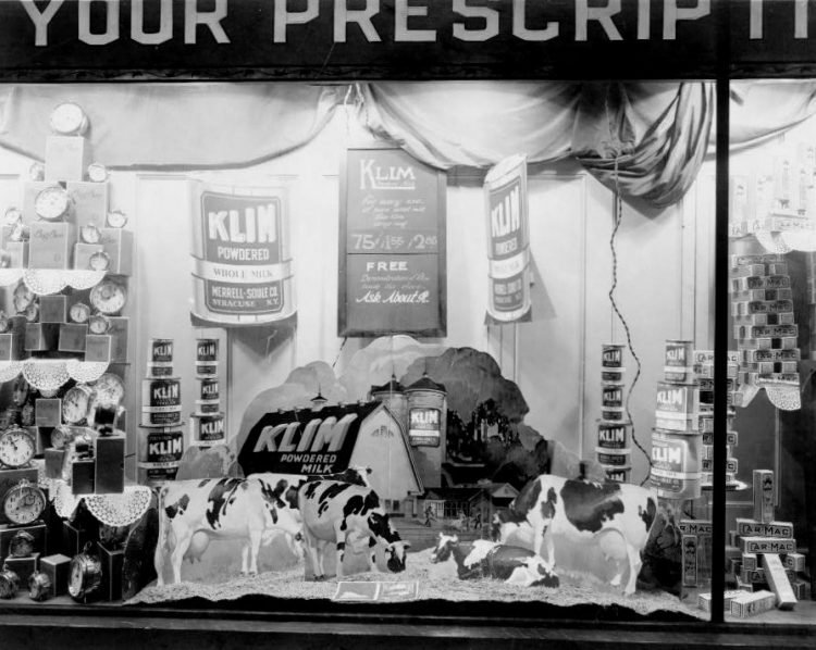 A vintage 1920s drugstore display in the shop window