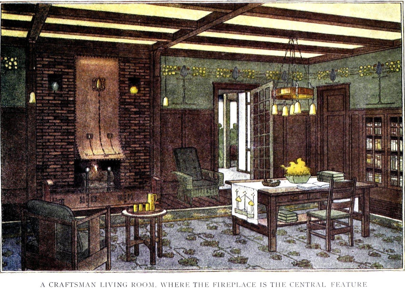 A vintage Craftsman home interior - Living room decor (1910s)