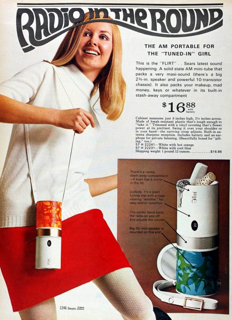 AM portable Radio in the Round in Sears 1968 catalog