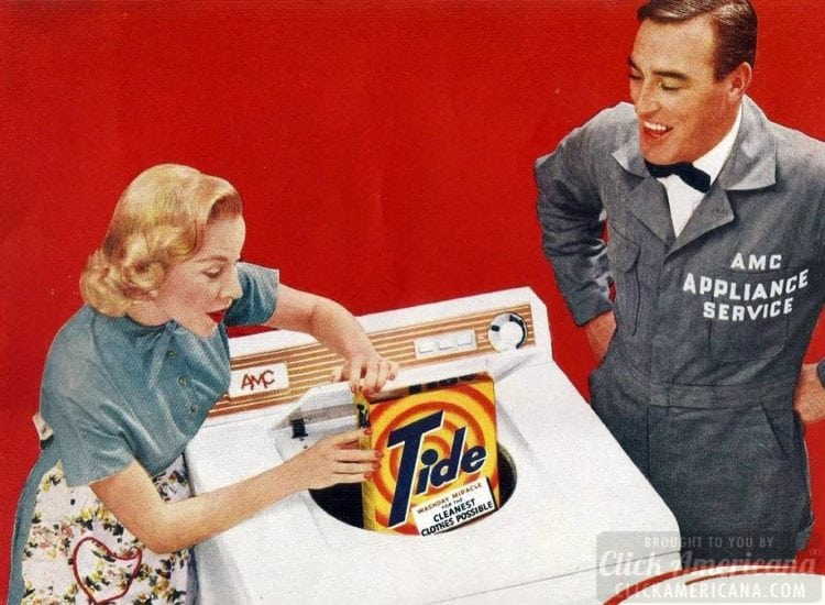 AMC washing machine with a free box of Tide from around 1956