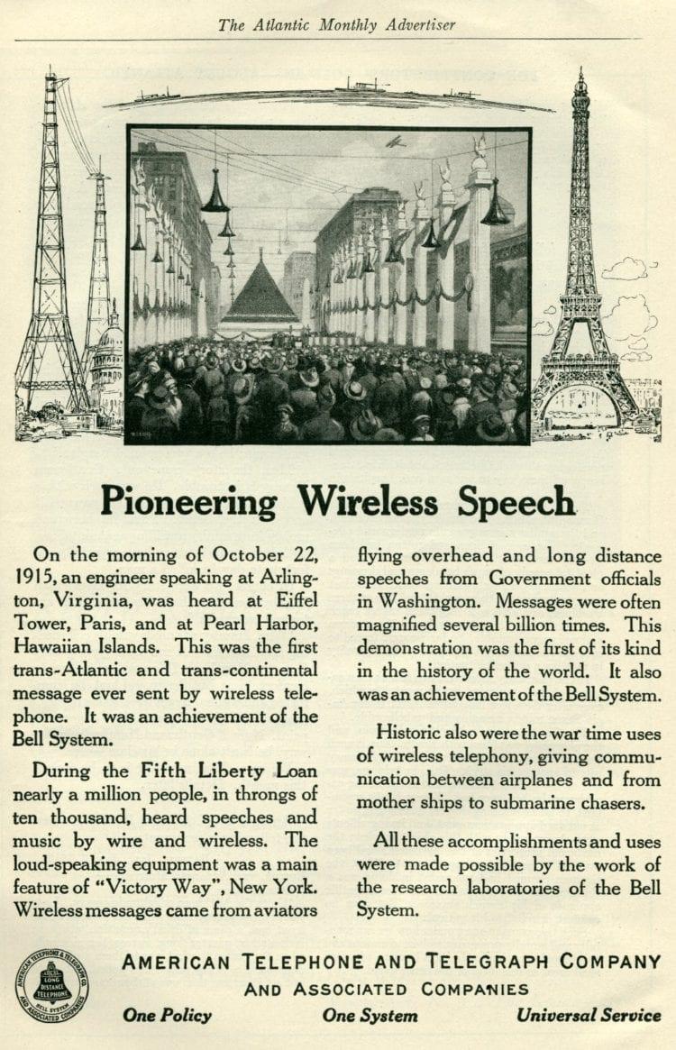 Wireless telephone service in 1919 - crowd listening