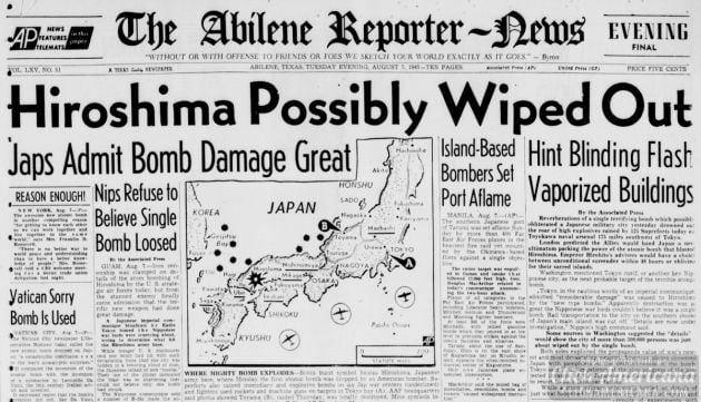 The atomic bombing of Hiroshima (1945)
