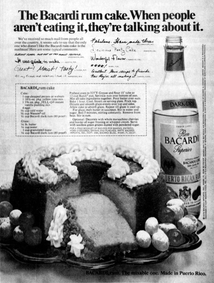 About the famous Bacardi rum cake from 1976