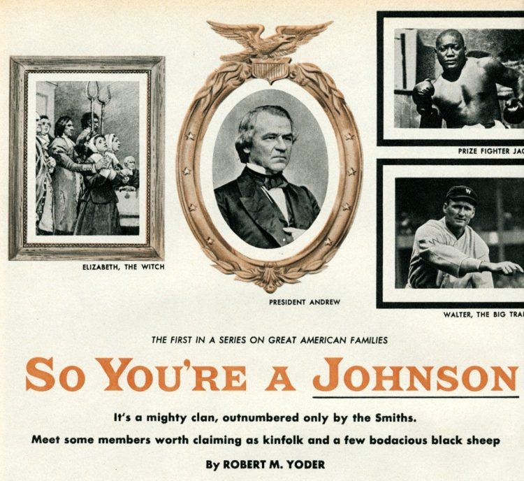 About the last name Johnson (1956)