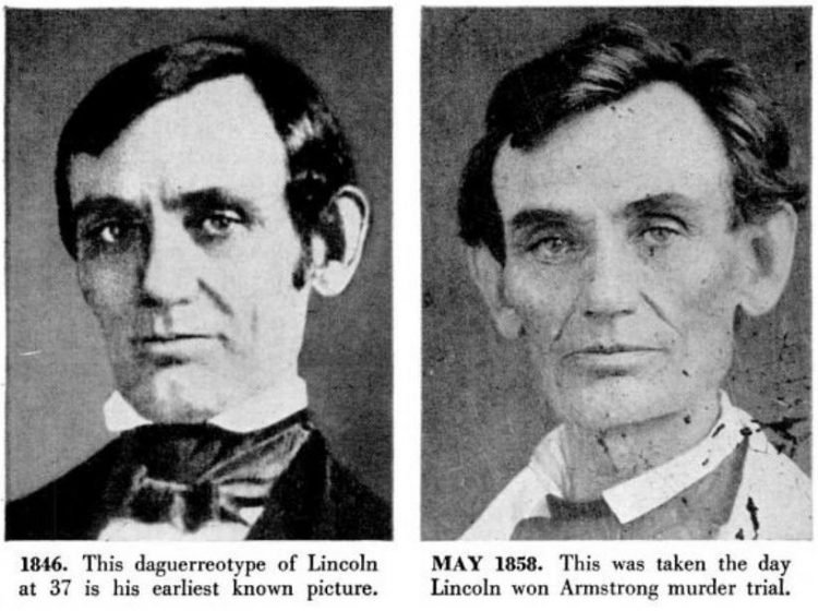 Abraham Lincoln historical portraits from 1846-1858