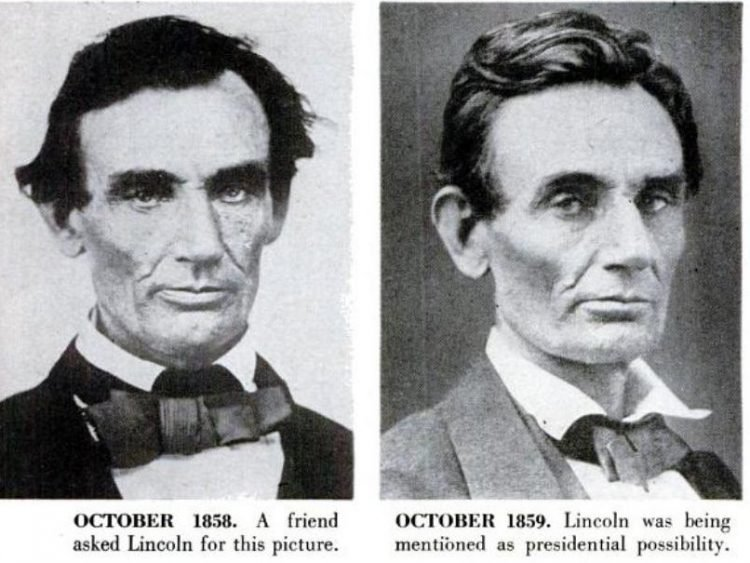 Abraham Lincoln historical portraits from 1858-1859