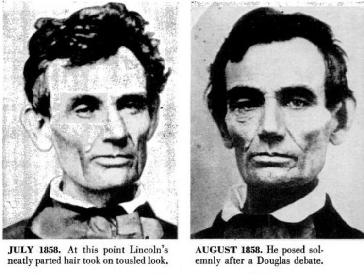 Abraham Lincoln historical portraits from 1858