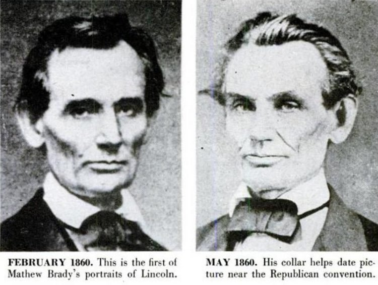Abraham Lincoln historical portraits from 1860