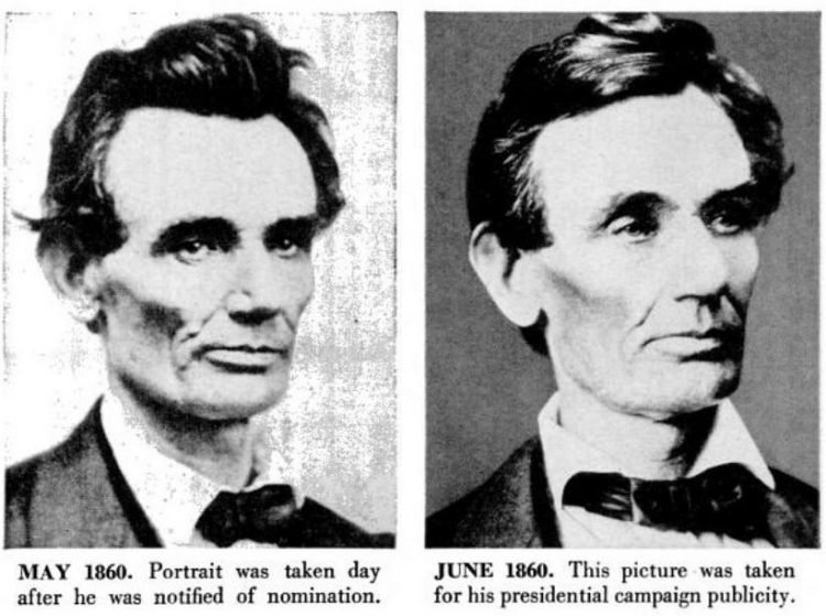 Abraham Lincoln historical portraits from 1860 for presidential campaign