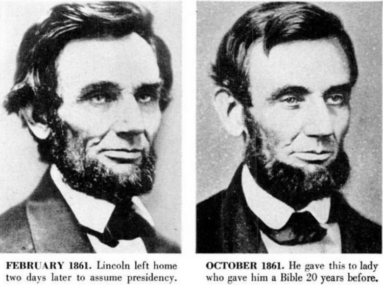 Abraham Lincoln historical portraits from 1861