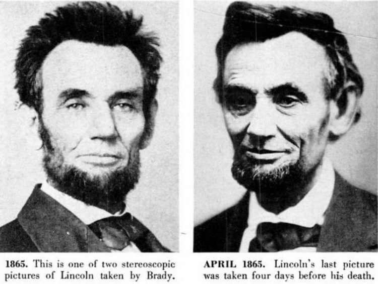 Abraham Lincoln historical portraits from 1865